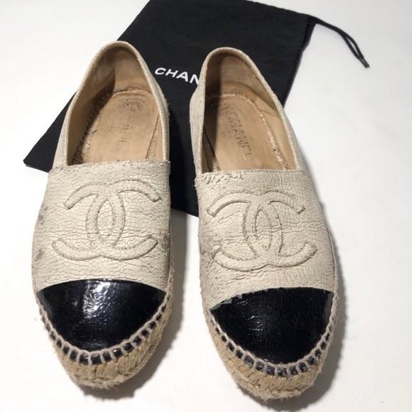 CHANEL Shoes - Chanel Crackled Leather Espadrilles